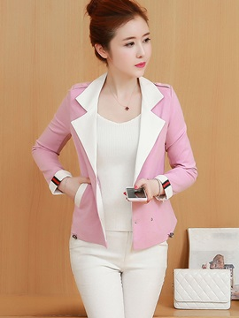 Fall Slim Fashion long Sleeve Notched Lapel Overcoat