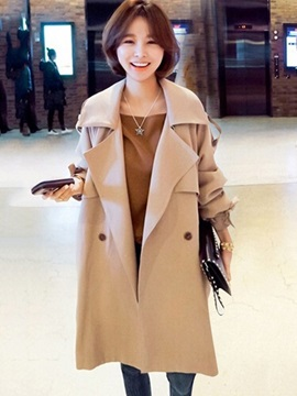 Long Sleeve Lapel Double-Breasted Overcoat