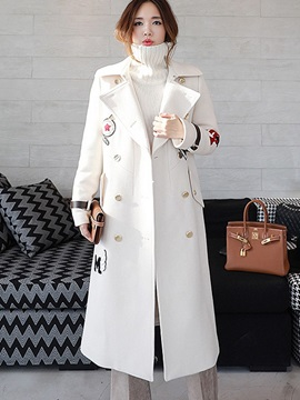 Long Sleeve Regular Double-Breasted Overcoat