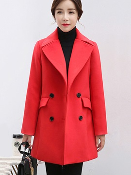 Fashion Notched Lapel Women's Overcoat