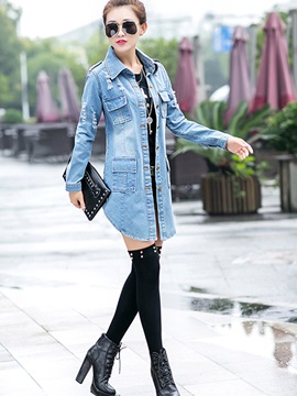 Denim Pockets Women's Trench Coat