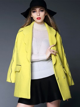 Long Sleeve Double-Breasted Lapel Women's Overcoat
