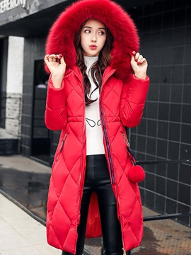Winter Hooded Long Sleeve Mid-Length Zipper Overcoat