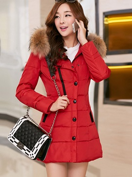 Long Sleeve Hooded Mid-Length Overcoat