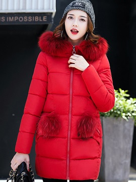 Long Seeve Hooded Mid-Length Zipper Overcoat