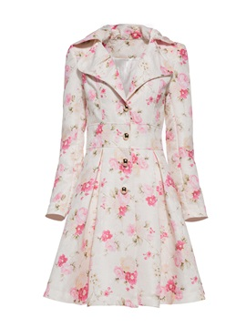 Floral Sweet A-line Vacation Women's Overcoat