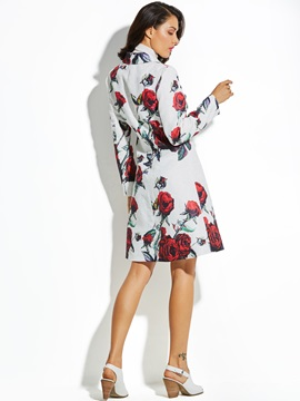 Rose Printed Lapel Women's Vacation Overcoat