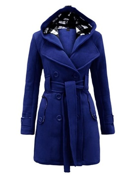 Hooded Slim Belt Women's Overcoat