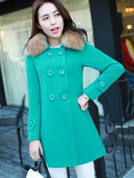 Faux Fur Long Sleeve Double-Breasted Plain Overcoat