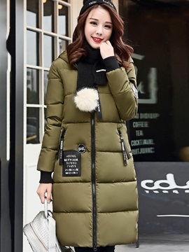 Winter Hooded Long Sleeve Slim Zipper Overcoat
