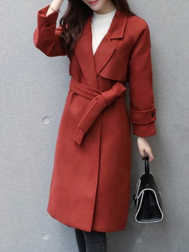 Fashion Straight Long Sleeve Mid-Length Plain Overcoat