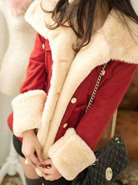 Warm Soft Faux Fur Long Sleeve Double-Breasted Overcoat
