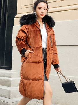Hooded Long Sleeve Zipper Women Overcoat