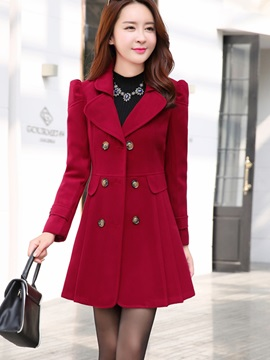 Winter Double-Breasted Lapel Long Sleeve Overcoat