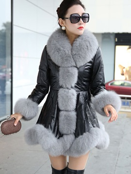 Long Sleeve Mid-Length PU Winter Overcoat