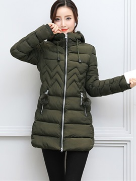 Hooded Long Sleeve Mid-Length Zipper Overcoat