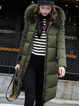 Long Sleeve Hooded Mid-Length Fur Collar Overcoat