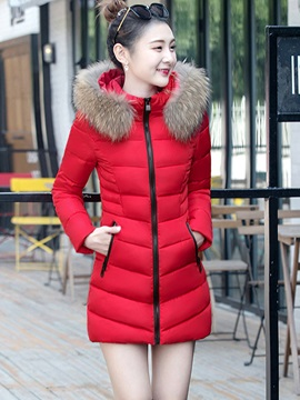 Mid-Length Slim Zipper-Up Hooded Cotton Women's Overcoat