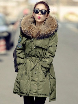Hooded Zipper Mid-Length Overcoat