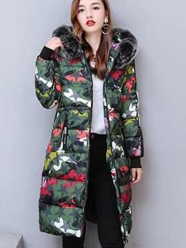 Camouflage Hooded Fur Zipper Overcoat