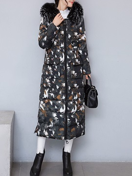 Winter Camouflage Hooded Fur Long Sleeve Women's Overcoat