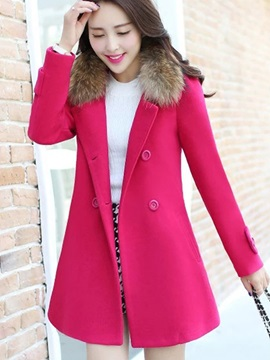 Double-Breasted Lapel Long Sleeve Winter Overcoat