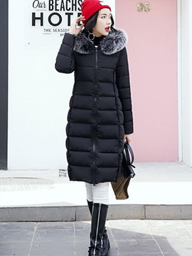 Loose Faux Fur Thick Zipper Down Coat Overcoat