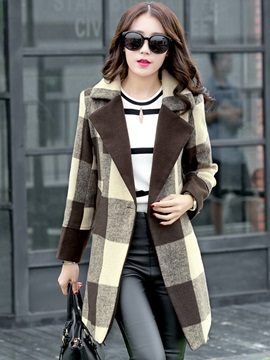 Long Sleeve Mid-Length Notched Lapel Overcoat