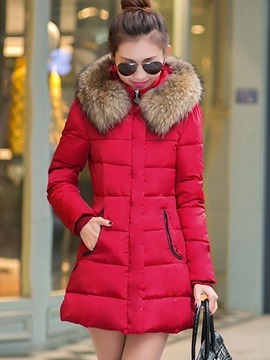 Chic Mid-Length Faux Fur Women's Overcoat