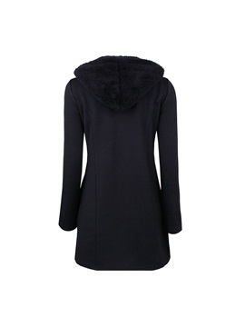 Hooded Long Sleeve Plain Winter Slim Women's Overcoat