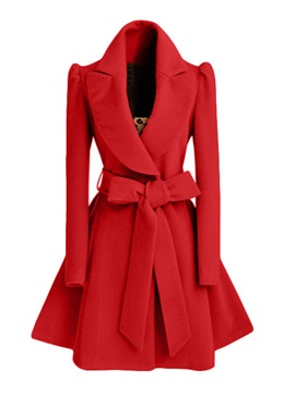 A Line Lace-Up Mid-Length Overcoat