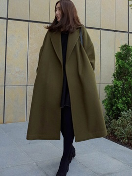 Cotton Blends Long Sleeve Loose Plain Women's Overcoat