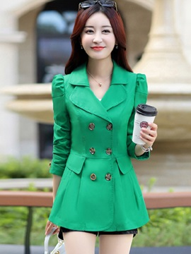 Long Sleeve Mid-Length Slim Women's Trench Coat