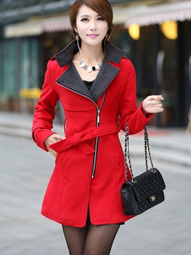 Stand Collar Belt Women's Coat