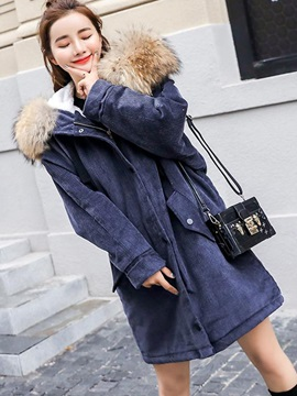 Long Sleeve Hooded Regular Thick Women Overcoat