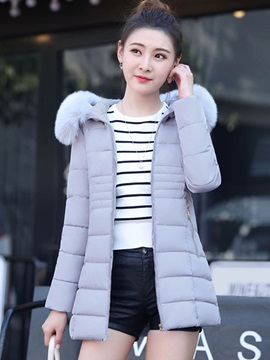 Long Sleeve Plain Zipper Regular Women Overcoat