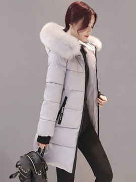 Tidebuy Multi Colors Hooded Faux Fur Cotton Women's Overcoat