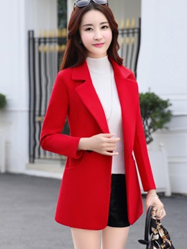 Notched Lapel Slim Plain Regular Women's Overcoat