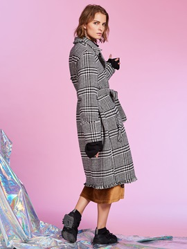 Lapel Double-Breasted Plaid Women's Overcoat
