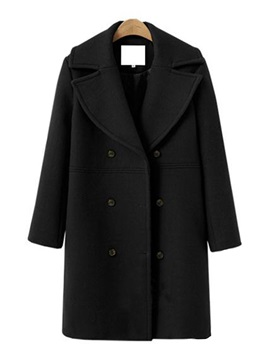 Double-Breasted Wool Blends Women's Overcoat
