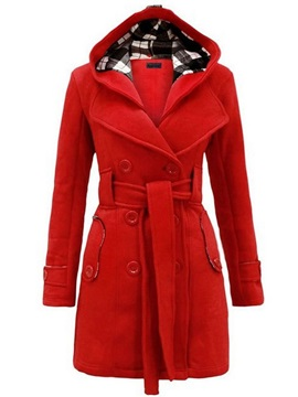 Winter Hooded Wool Blends Mid-Length Women's Overcoat
