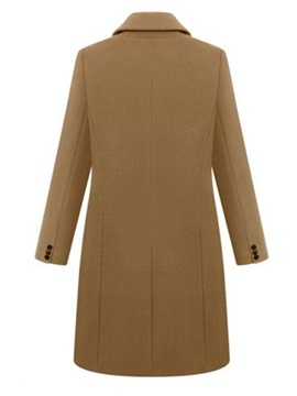 Wool Blends Double-Breasted Women's Overcoat