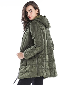 Plain Zip Up Hooded Mid Length Women's Cotton Coat