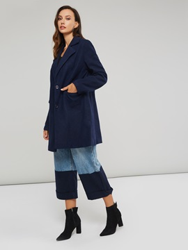 Notched Lapel Button Up Pockets Women's Overcoat