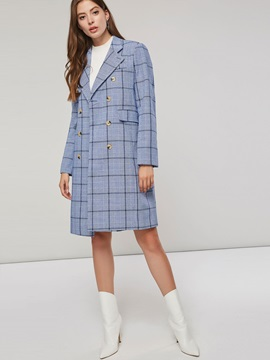 Plaid Double-Breasted Mid-Length Lapel Women's Overcoat