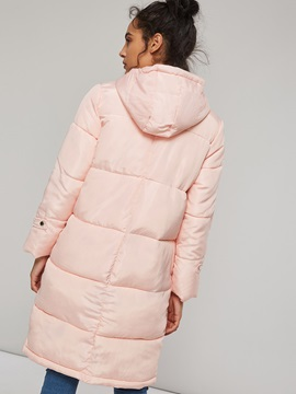 Winter Thick Horn Button Hooded Women's Cotton Coat