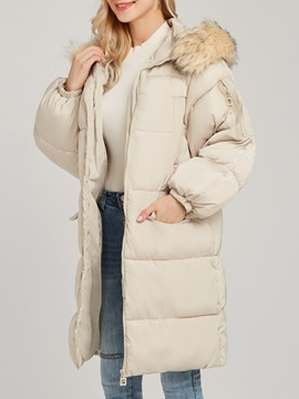 Hooded Plain Thick Mid Length Women's Cotton Overcoat