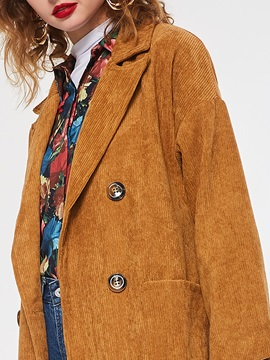 Corduroy Straight Double-Breasted Long Women's Overcoat