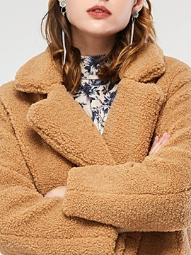 Plain Thick Loose Mid-Length Women's Teddy Bear Coat