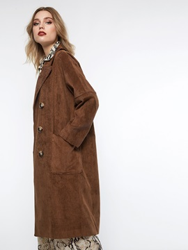 Straight Double-Breasted Button Fall Women's Overcoat